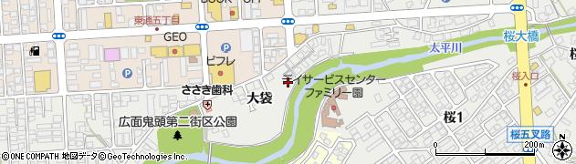 秋田県秋田市広面(大袋)周辺の地図