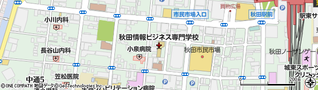 秋田県秋田市中通周辺の地図