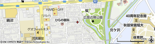秋田県秋田市広面(碇)周辺の地図