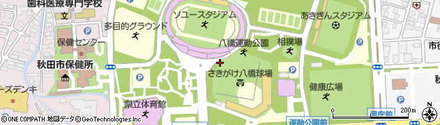 秋田県秋田市八橋運動公園周辺の地図