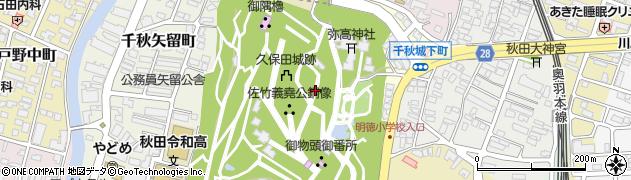 秋田県秋田市千秋公園周辺の地図