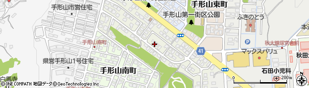 秋田県秋田市手形山中町周辺の地図