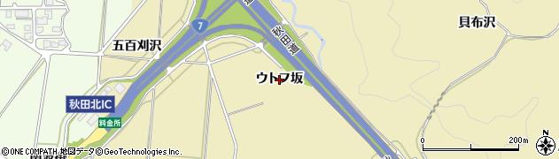 秋田県秋田市上新城道川(ウトフ坂)周辺の地図