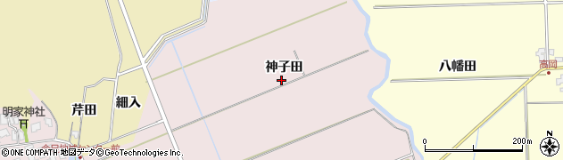 秋田県秋田市金足小泉(神子田)周辺の地図