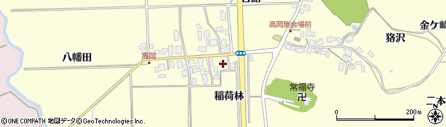 秋田県秋田市金足高岡(稲荷林)周辺の地図