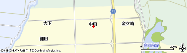 秋田県秋田市金足高岡(中田)周辺の地図