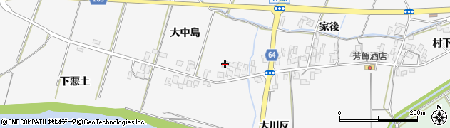 秋田県能代市朴瀬大中島周辺の地図