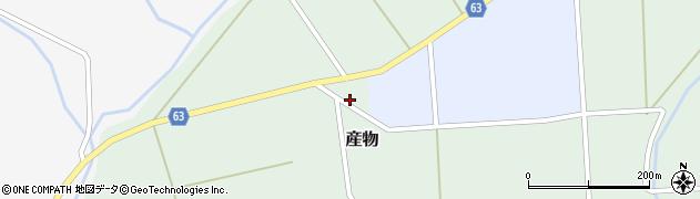 秋田県能代市産物狐森周辺の地図