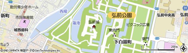 弘前城周辺の地図