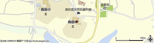 青森県つがる市森田町森田屏風山周辺の地図