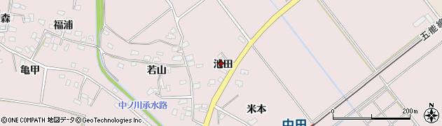青森県つがる市森田町中田池田周辺の地図