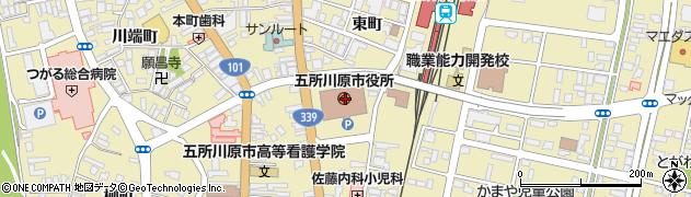 青森県五所川原市周辺の地図