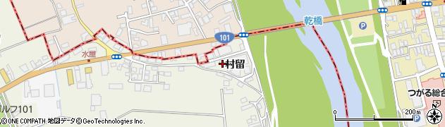 青森県つがる市柏鷺坂村留周辺の地図