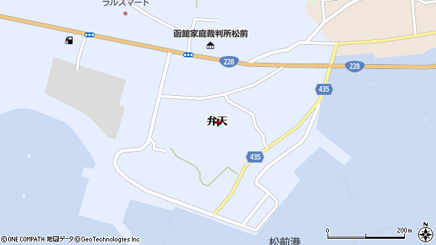 〒049-1502 北海道松前郡松前町弁天の地図