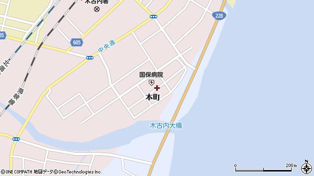 〒049-0422 北海道上磯郡木古内町本町の地図
