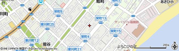 北海道函館市栄町周辺の地図