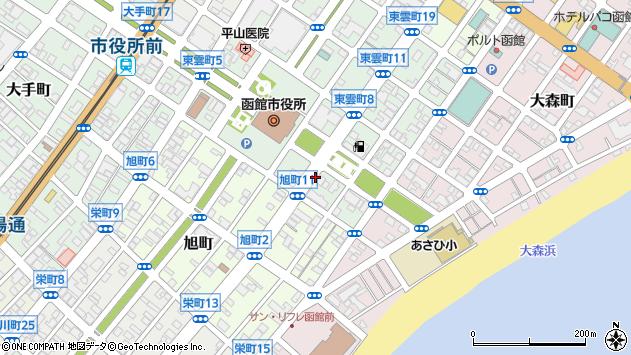 〒040-0036 北海道函館市東雲町の地図