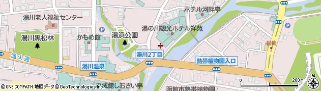 湯の川温泉周辺の地図