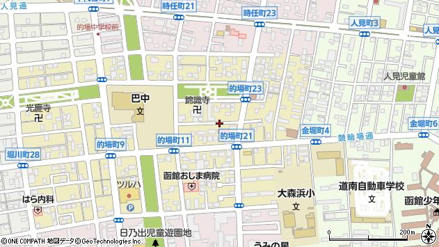 〒040-0021 北海道函館市的場町の地図