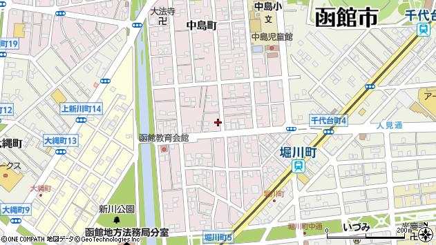 〒040-0014 北海道函館市中島町の地図