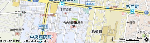 北海道函館市本町周辺の地図