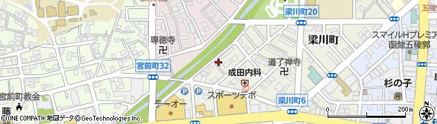 北海道函館市梁川町周辺の地図