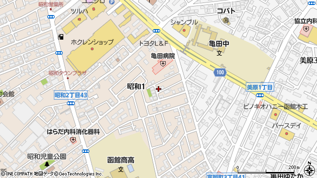 〒041-0812 北海道函館市昭和の地図