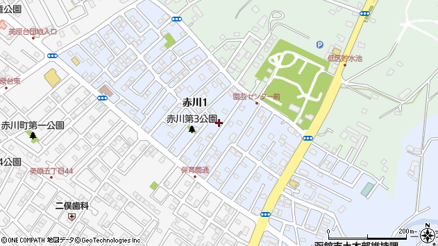 〒041-0805 北海道函館市赤川の地図