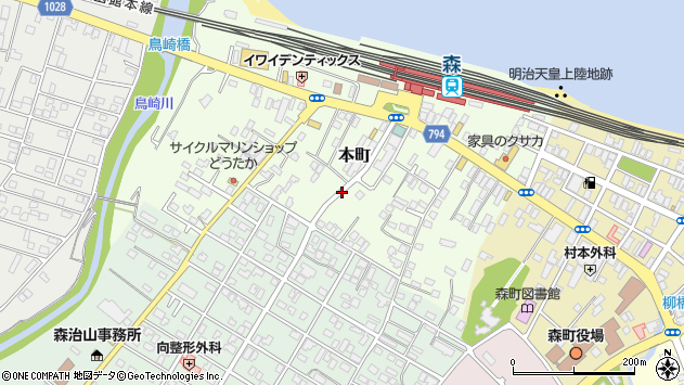 〒049-2325 北海道茅部郡森町本町の地図