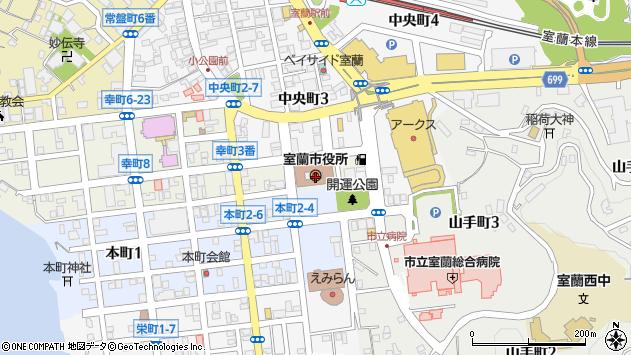 〒050-0000 北海道室蘭市(以下に掲載がない場合)の地図