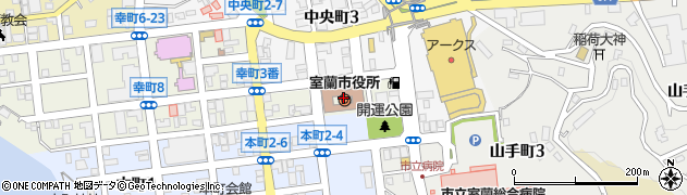北海道室蘭市周辺の地図