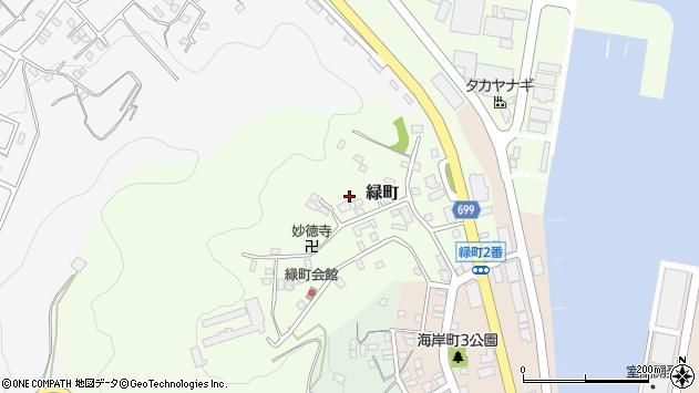 〒051-0021 北海道室蘭市緑町の地図