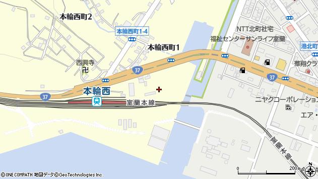 〒050-0065 北海道室蘭市本輪西町の地図