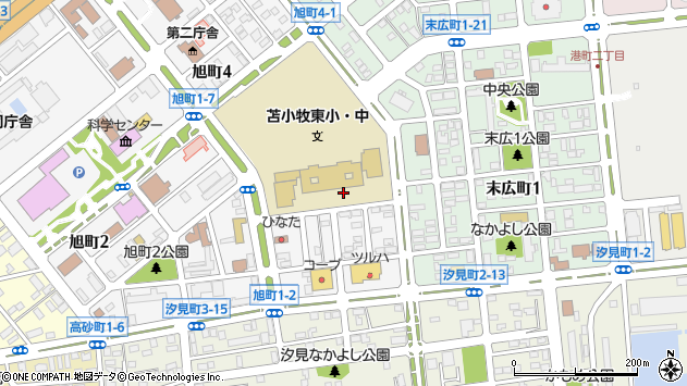 〒053-0018 北海道苫小牧市旭町の地図