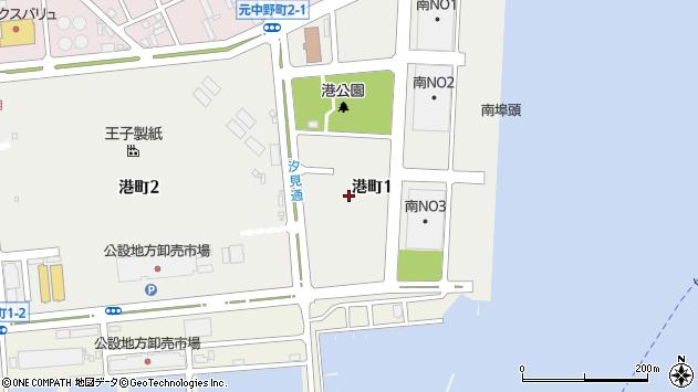 〒053-0004 北海道苫小牧市港町の地図