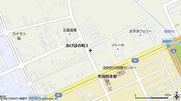 〒053-0056 北海道苫小牧市あけぼの町3丁目の地図