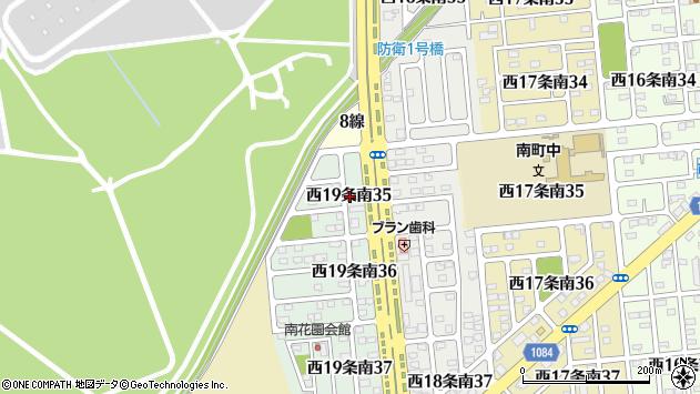 〒080-0029 北海道帯広市西十九条南(35〜38、41、42丁目)の地図