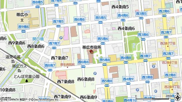 〒080-0000 北海道帯広市(以下に掲載がない場合)の地図