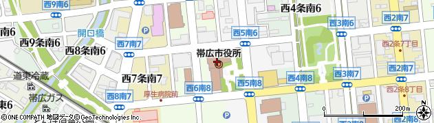 北海道帯広市周辺の地図