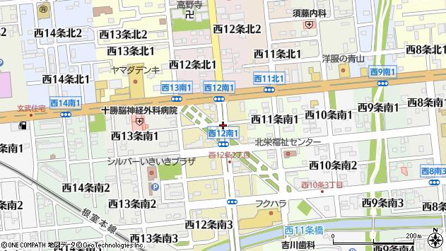 〒080-0022 北海道帯広市西十二条南の地図