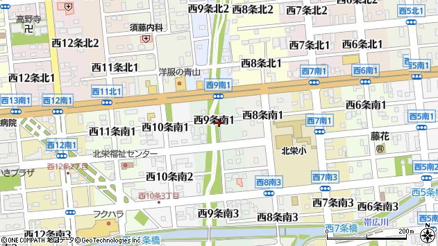 〒080-0019 北海道帯広市西九条南の地図
