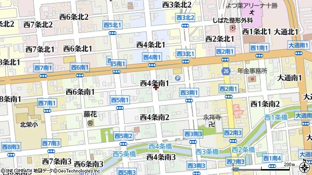 〒080-0014 北海道帯広市西四条南の地図
