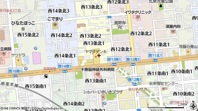 〒080-0043 北海道帯広市西十三条北の地図