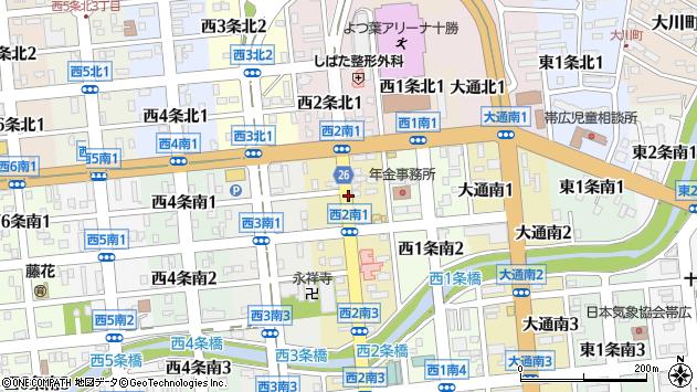 〒080-0012 北海道帯広市西二条南の地図
