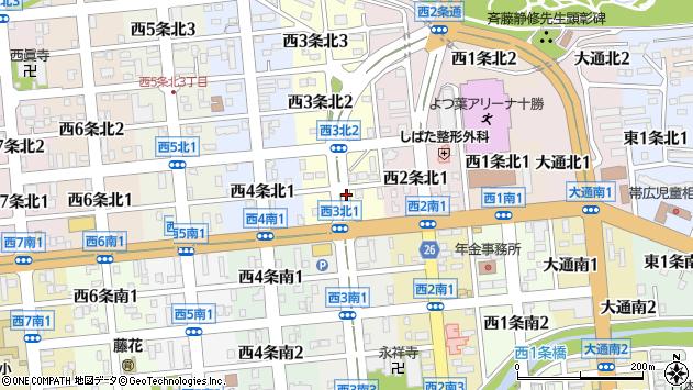 〒080-0033 北海道帯広市西三条北の地図