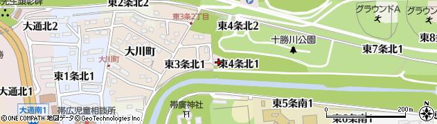 北海道帯広市東4条北周辺の地図