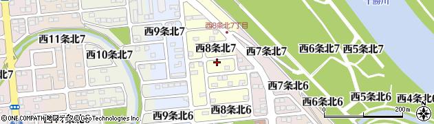 北海道帯広市西8条北周辺の地図