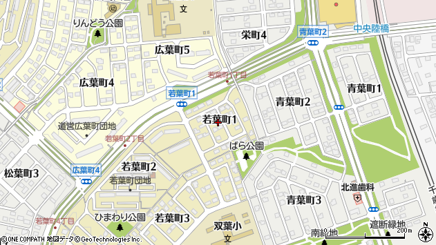 〒061-1142 北海道北広島市若葉町の地図