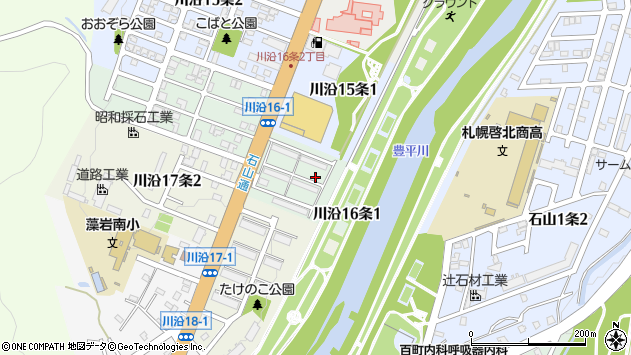 〒005-0816 北海道札幌市南区川沿十六条の地図