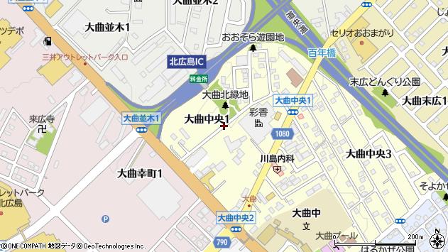 〒061-1271 北海道北広島市大曲中央の地図